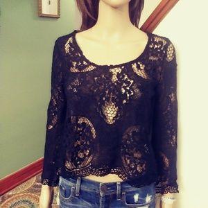 Mika & Gala black lace blouse. Sz-6
